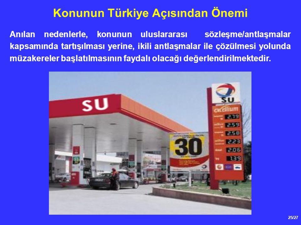 25/27 Konunun Türkiye Açısından Önemi Anılan nedenlerle, konunun uluslararası sözleşme/antlaşmalar kapsamında tartışılması yerine, ikili antlaşmalar i