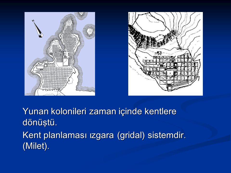 Yunan kolonileri zaman içinde kentlere dönüştü. Kent planlaması ızgara (gridal) sistemdir. (Milet).