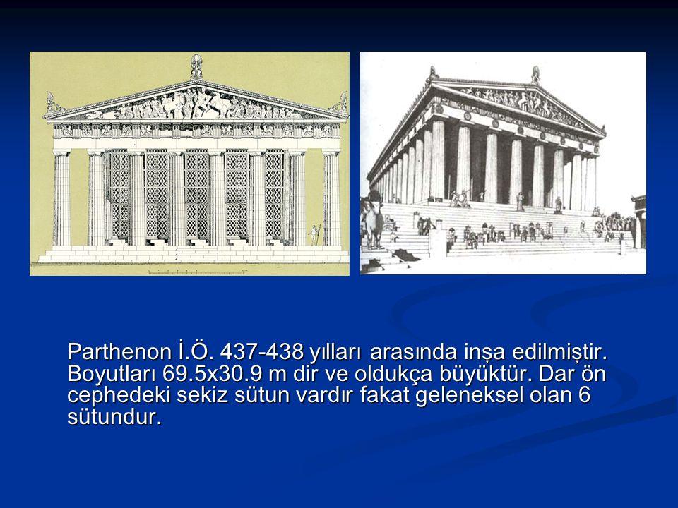 Parthenon İ.Ö.437-438 yılları arasında inşa edilmiştir.