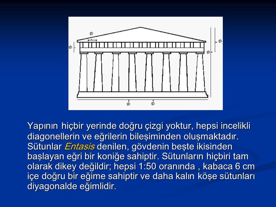Yapının hiçbir yerinde doğru çizgi yoktur, hepsi incelikli diagonellerin ve eğrilerin bileşiminden oluşmaktadır.
