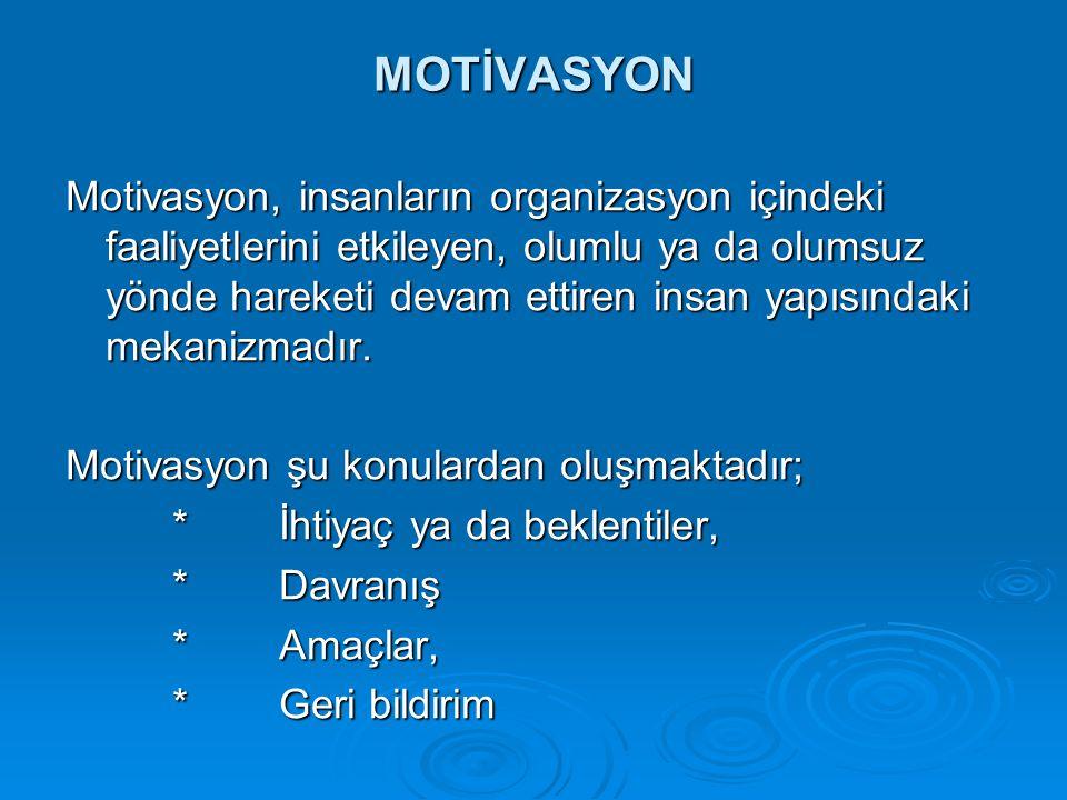 MOTİVASYON Motivasyon, insanların organizasyon içindeki faaliyetlerini etkileyen, olumlu ya da olumsuz yönde hareketi devam ettiren insan yapısındaki
