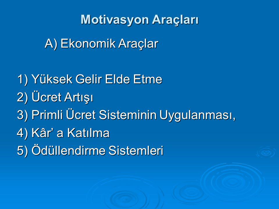 Motivasyon Araçları A) Ekonomik Araçlar 1) Yüksek Gelir Elde Etme 2) Ücret Artışı 3) Primli Ücret Sisteminin Uygulanması, 4) Kâr' a Katılma 5) Ödüllen