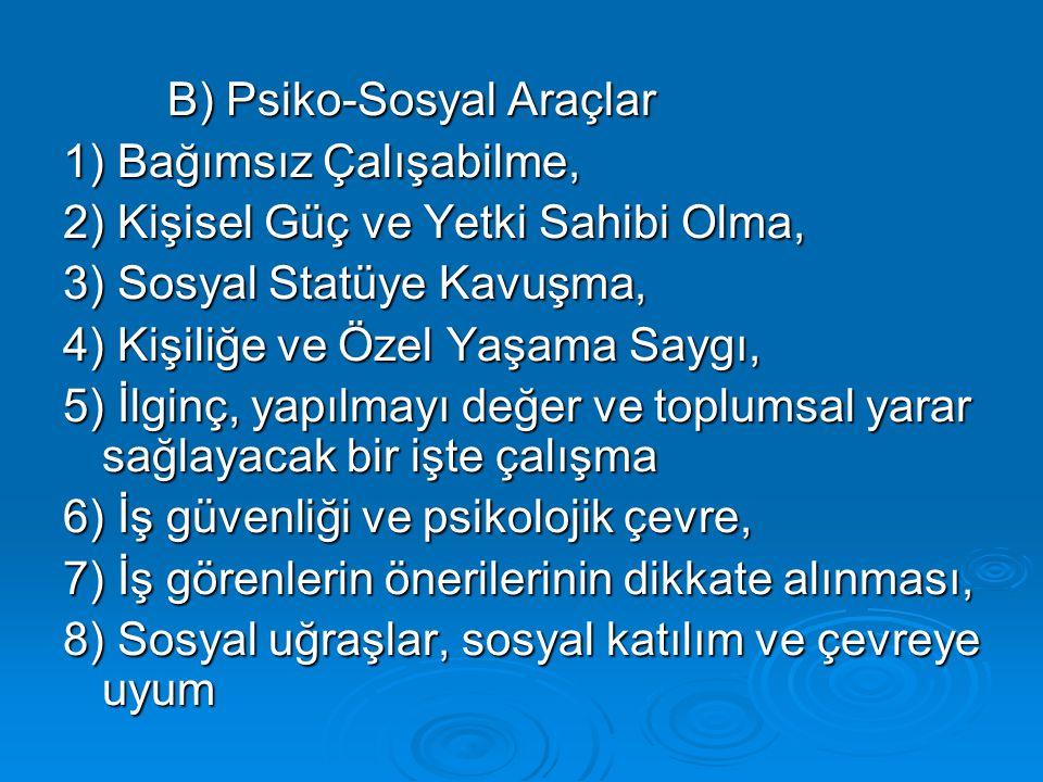 B) Psiko-Sosyal Araçlar 1) Bağımsız Çalışabilme, 2) Kişisel Güç ve Yetki Sahibi Olma, 3) Sosyal Statüye Kavuşma, 4) Kişiliğe ve Özel Yaşama Saygı, 5)