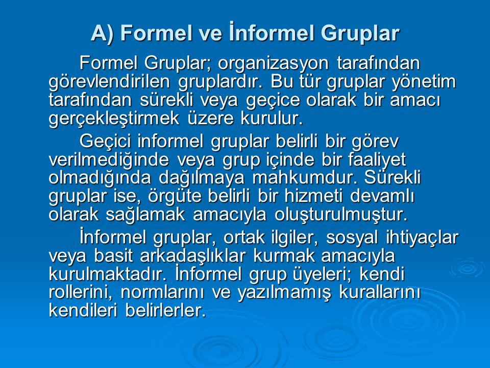 A) Formel ve İnformel Gruplar Formel Gruplar; organizasyon tarafından görevlendirilen gruplardır. Bu tür gruplar yönetim tarafından sürekli veya geçic