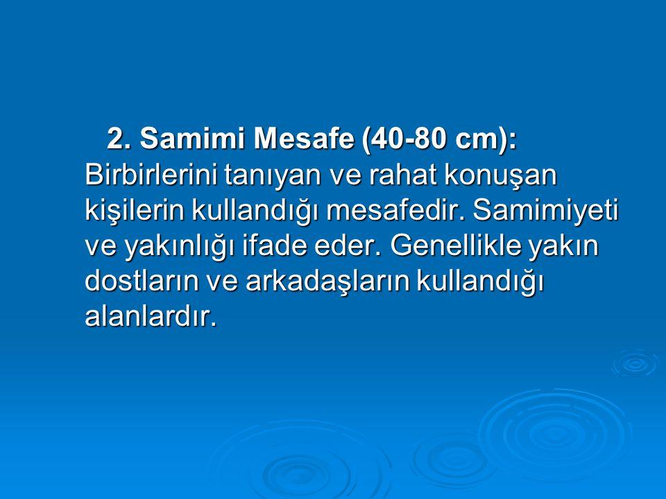 2. Samimi Mesafe (40-80 cm): Birbirlerini tanıyan ve rahat konuşan kişilerin kullandığı mesafedir. Samimiyeti ve yakınlığı ifade eder. Genellikle yakı