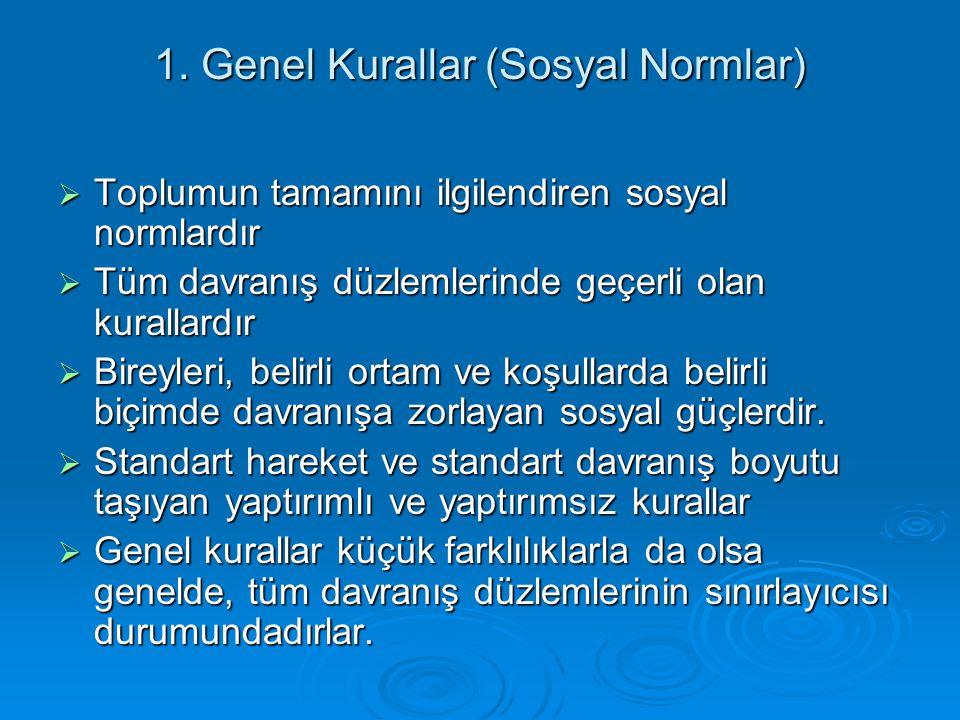 1. Genel Kurallar (Sosyal Normlar)  Toplumun tamamını ilgilendiren sosyal normlardır  Tüm davranış düzlemlerinde geçerli olan kurallardır  Bireyler