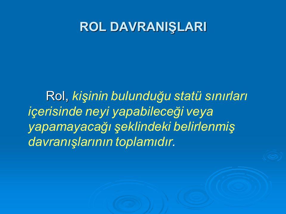 ROL DAVRANIŞLARI Rol, Rol, kişinin bulunduğu statü sınırları içerisinde neyi yapabileceği veya yapamayacağı şeklindeki belirlenmiş davranışlarının top