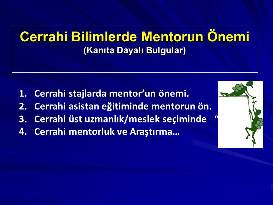 Cerrahi Bilimlerde Mentorun Önemi (Kanıta Dayalı Bulgular) 1.Cerrahi stajlarda mentor'un önemi.