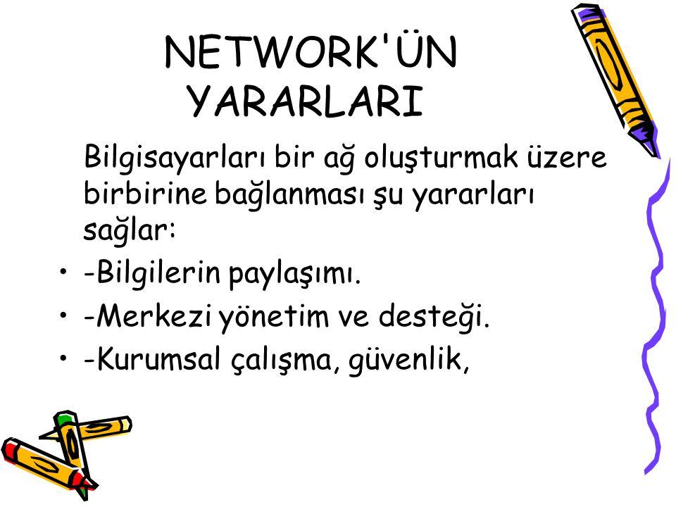 NETWORK ÜN YARARLARI Bilgisayarları bir ağ oluşturmak üzere birbirine bağlanması şu yararları sağlar: -Bilgilerin paylaşımı.