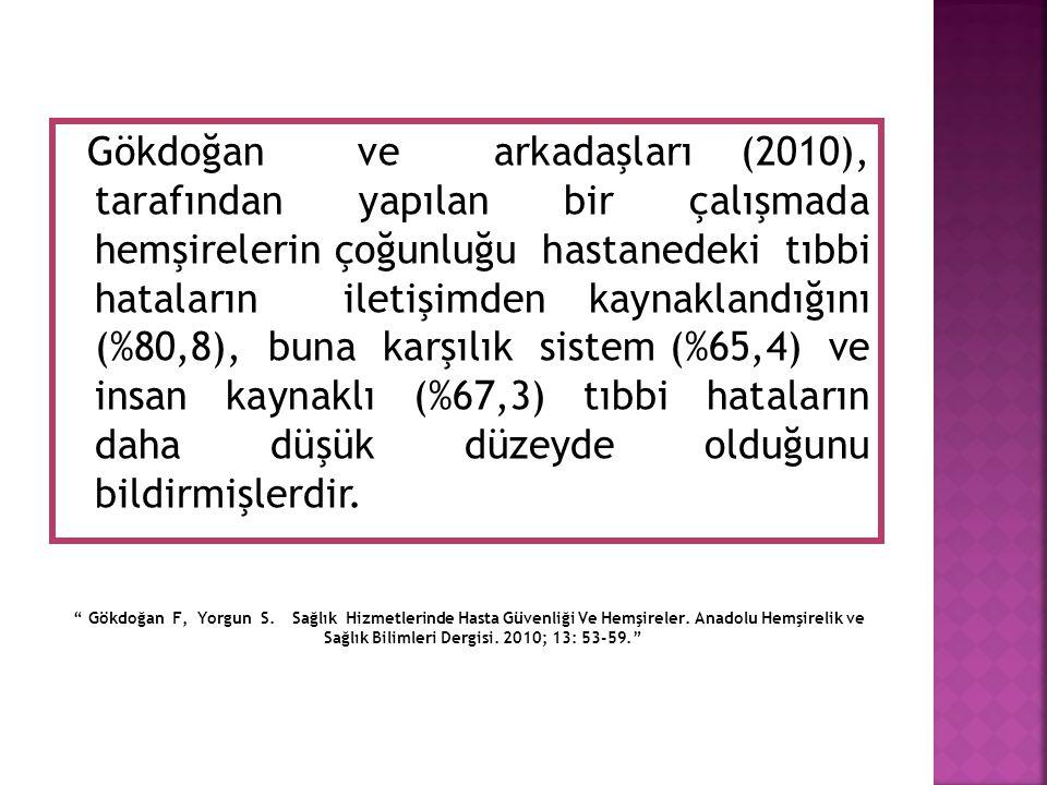 Gökdoğan ve arkadaşları (2010), tarafından yapılan bir çalışmada hemşirelerin çoğunluğu hastanedeki tıbbi hataların iletişimden kaynaklandığını (%80,8