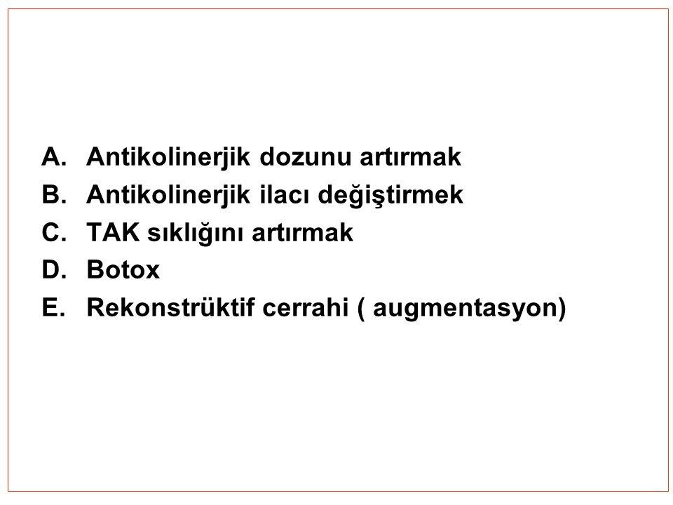 A.Antikolinerjik dozunu artırmak B.Antikolinerjik ilacı değiştirmek C.TAK sıklığını artırmak D.Botox E.Rekonstrüktif cerrahi ( augmentasyon)