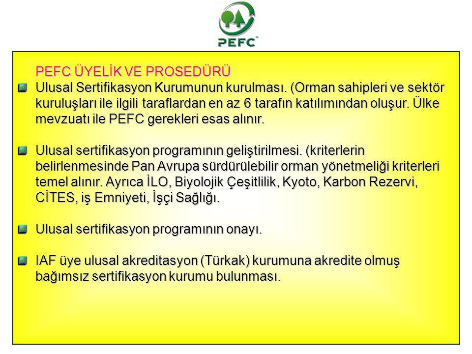 PEFC ÜYELİK VE PROSEDÜRÜ Ulusal Sertifikasyon Kurumunun kurulması. (Orman sahipleri ve sektör kuruluşları ile ilgili taraflardan en az 6 tarafın katıl