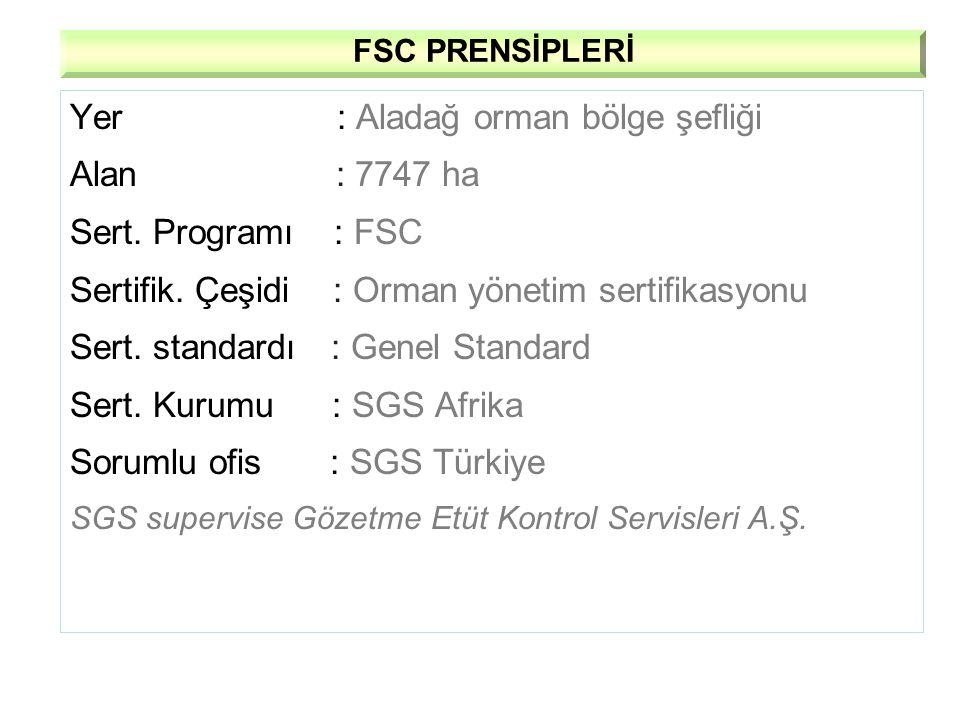 Yer : Aladağ orman bölge şefliği Alan : 7747 ha Sert. Programı : FSC Sertifik. Çeşidi : Orman yönetim sertifikasyonu Sert. standardı : Genel Standard