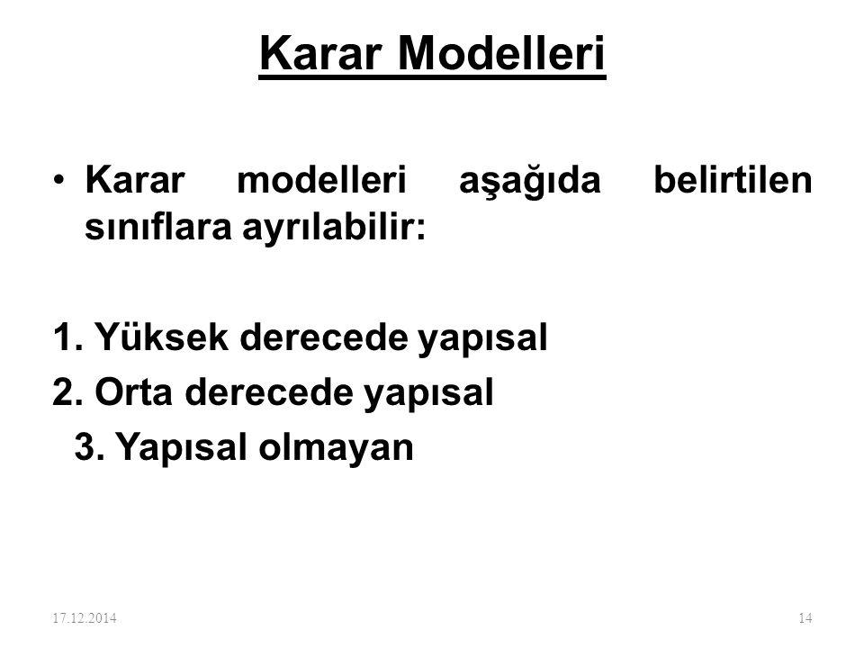 Karar Modelleri Karar modelleri aşağıda belirtilen sınıflara ayrılabilir: 1. Yüksek derecede yapısal 2. Orta derecede yapısal 3. Yapısal olmayan 17.12