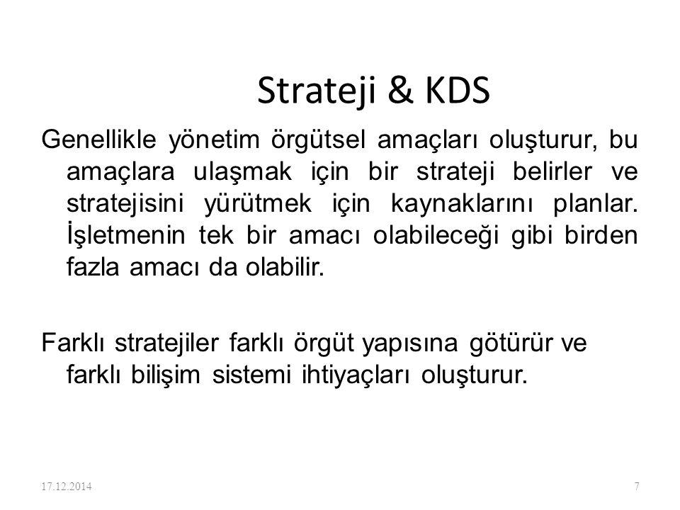 Strateji & KDS Genellikle yönetim örgütsel amaçları oluşturur, bu amaçlara ulaşmak için bir strateji belirler ve stratejisini yürütmek için kaynakları