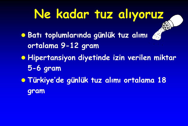 Ne kadar tuz alıyoruz l Batı toplumlarında günlük tuz alımı ortalama 9-12 gram l Hipertansiyon diyetinde izin verilen miktar 5-6 gram l Türkiye'de gün