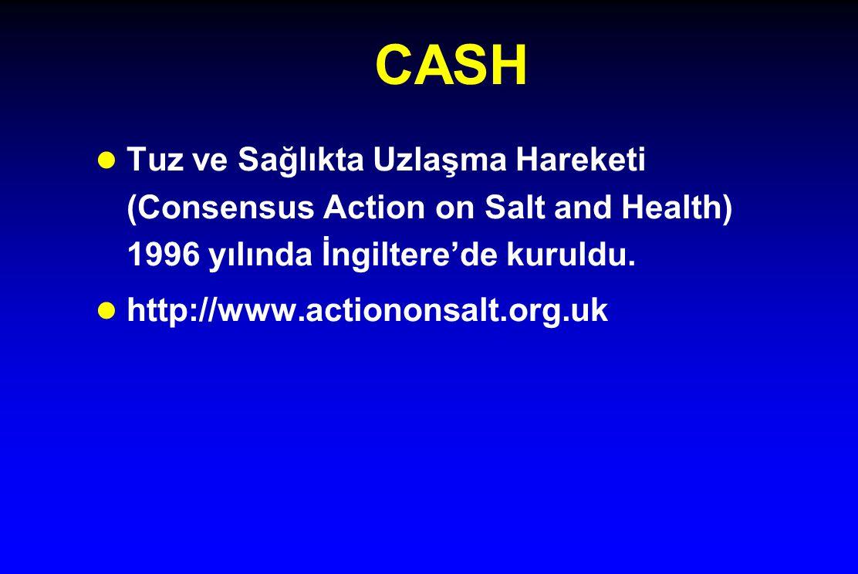 CASH l Tuz ve Sağlıkta Uzlaşma Hareketi (Consensus Action on Salt and Health) 1996 yılında İngiltere'de kuruldu. l http://www.actiononsalt.org.uk