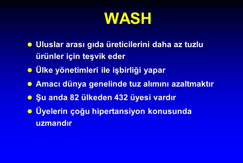 WASH l Uluslar arası gıda üreticilerini daha az tuzlu ürünler için teşvik eder l Ülke yönetimleri ile işbirliği yapar l Amacı dünya genelinde tuz alım