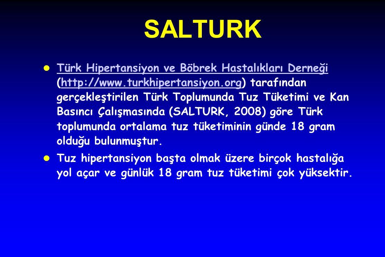 SALTURK l Türk Hipertansiyon ve Böbrek Hastalıkları Derneği (http://www.turkhipertansiyon.org) tarafından gerçekleştirilen Türk Toplumunda Tuz Tüketim