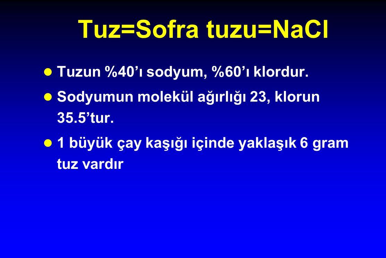 Tuz=Sofra tuzu=NaCl l Tuzun %40'ı sodyum, %60'ı klordur. l Sodyumun molekül ağırlığı 23, klorun 35.5'tur. l 1 büyük çay kaşığı içinde yaklaşık 6 gram
