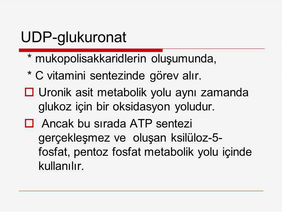 UDP-glukuronat * mukopolisakkaridlerin oluşumunda, * C vitamini sentezinde görev alır.  Uronik asit metabolik yolu aynı zamanda glukoz için bir oksid