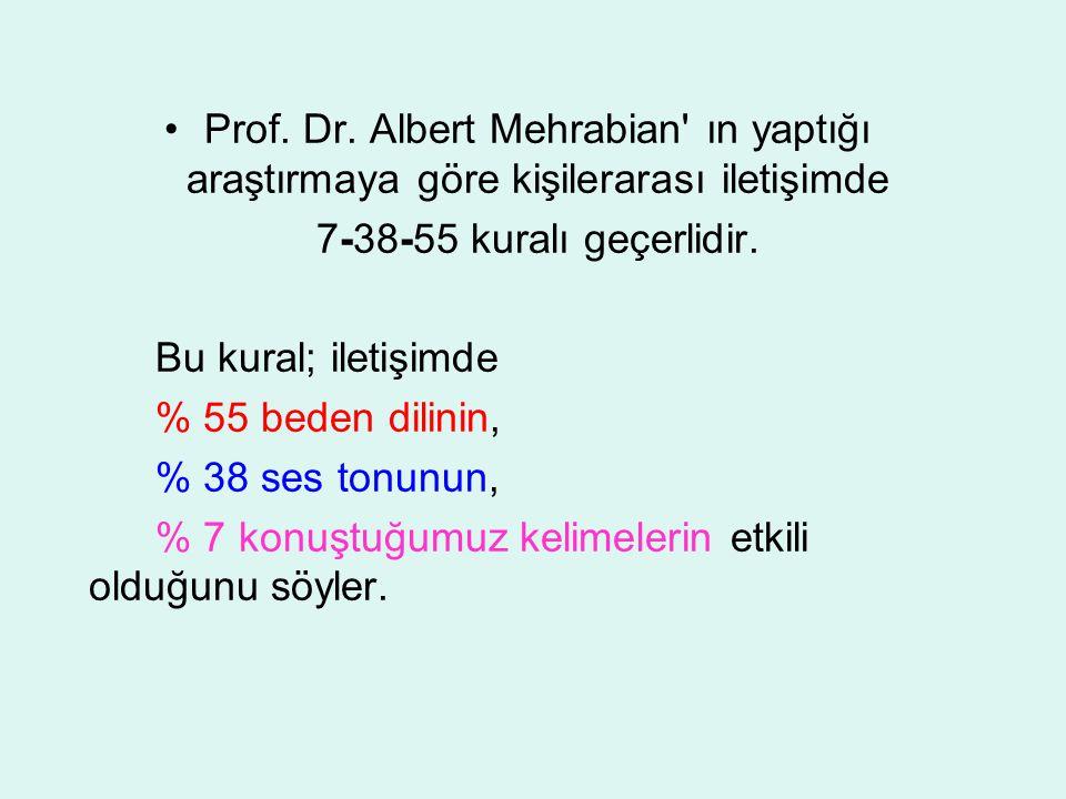 Prof. Dr. Albert Mehrabian' ın yaptığı araştırmaya göre kişilerarası iletişimde 7-38-55 kuralı geçerlidir. Bu kural; iletişimde % 55 beden dilinin, %