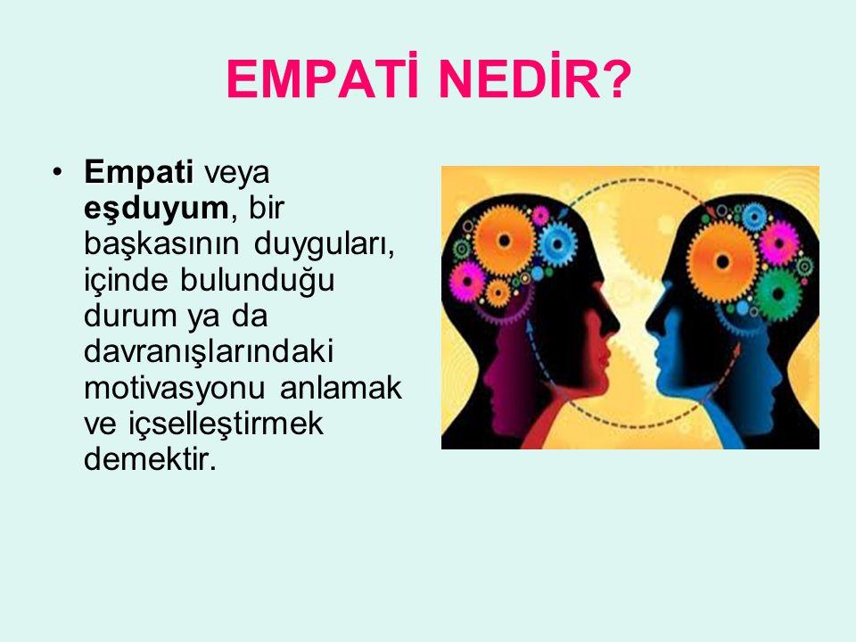 EMPATİ NEDİR? EmpatiEmpati veya eşduyum, bir başkasının duyguları, içinde bulunduğu durum ya da davranışlarındaki motivasyonu anlamak ve içselleştirme