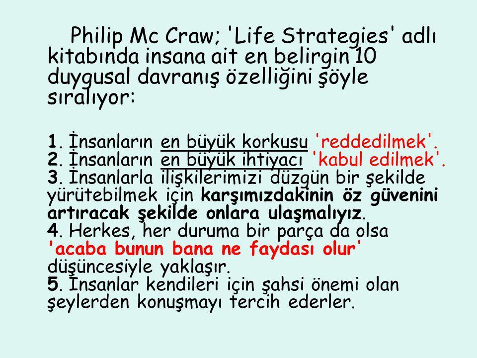 Philip Mc Craw; 'Life Strategies' adlı kitabında insana ait en belirgin 10 duygusal davranış özelliğini şöyle sıralıyor: 1. İnsanların en büyük korkus
