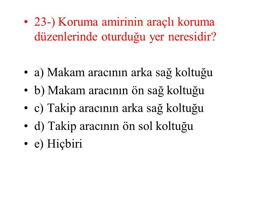 23-) Koruma amirinin araçlı koruma düzenlerinde oturduğu yer neresidir.