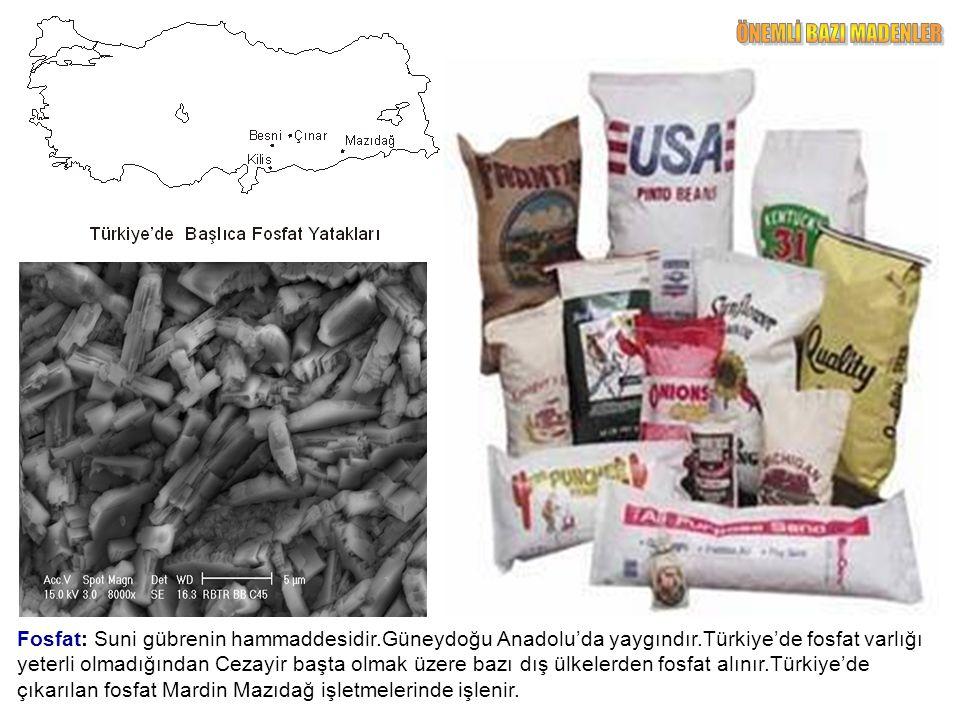 Fosfat: Suni gübrenin hammaddesidir.Güneydoğu Anadolu'da yaygındır.Türkiye'de fosfat varlığı yeterli olmadığından Cezayir başta olmak üzere bazı dış ülkelerden fosfat alınır.Türkiye'de çıkarılan fosfat Mardin Mazıdağ işletmelerinde işlenir.