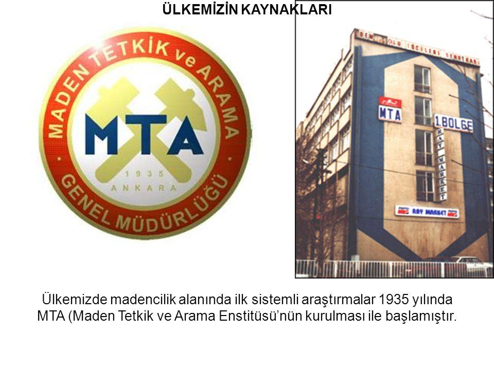 ÜLKEMİZİN KAYNAKLARI Ülkemizde madencilik alanında ilk sistemli araştırmalar 1935 yılında MTA (Maden Tetkik ve Arama Enstitüsü'nün kurulması ile başlamıştır.