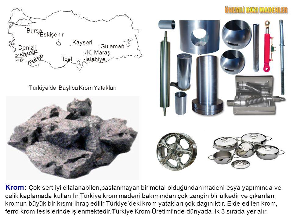 Boksit: Alüminyumun hammaddesidir.Kireç taşları içinde oluşur.Hafif bir maden olmasına bağlı olarak motorlu araçlar yapımında,elektronik sanayinde,kimya sanayinde,mutfak eşyası ve uçak yapımında kullanılır.Elde edilen boksit,Seydişehir Alimünyum Tesisleri'nde işlenmektedir.