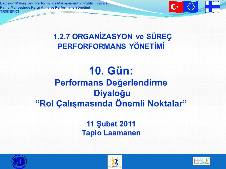 Decision Making and Performance Management in Public Finance Kamu Maliyesinde Karar Alma ve Performans Yönetimi TR08IBFI ORGANİZASYON ve SÜREÇ PERFORFORMANS YÖNETİMİ 10.