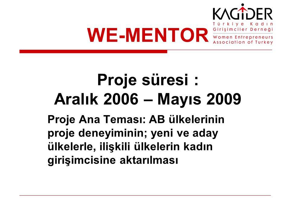 WE-MENTOR Proje süresi : Aralık 2006 – Mayıs 2009 Proje Ana Teması: AB ülkelerinin proje deneyiminin; yeni ve aday ülkelerle, ilişkili ülkelerin kadın girişimcisine aktarılması