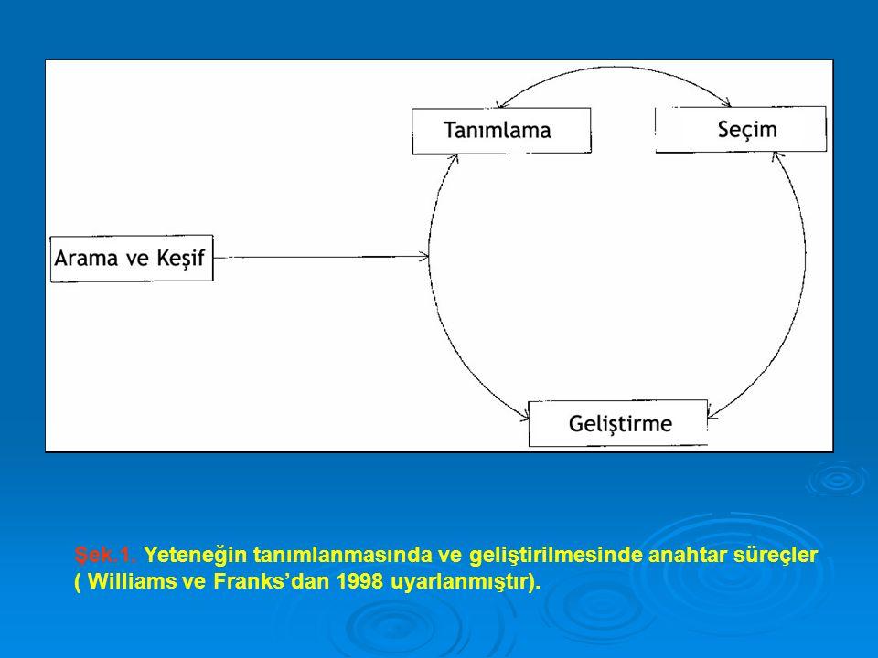 Şek.1. Yeteneğin tanımlanmasında ve geliştirilmesinde anahtar süreçler ( Williams ve Franks'dan 1998 uyarlanmıştır).