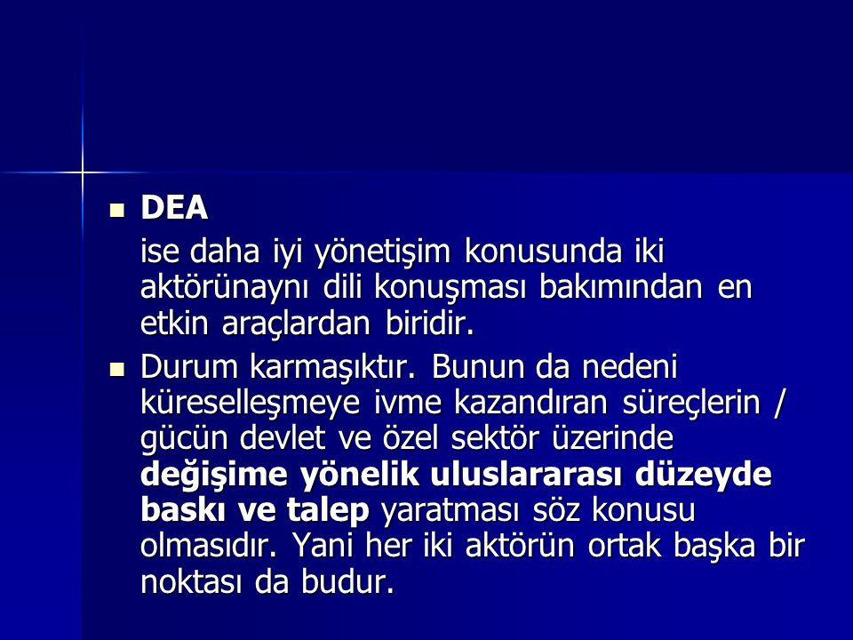 DEA DEA ise daha iyi yönetişim konusunda iki aktörünaynı dili konuşması bakımından en etkin araçlardan biridir. Durum karmaşıktır. Bunun da nedeni kür