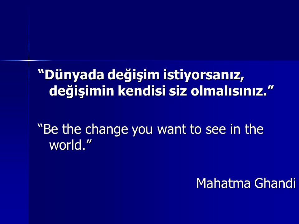 """""""Dünyada değişim istiyorsanız, değişimin kendisi siz olmalısınız."""" """"Be the change you want to see in the world."""" Mahatma Ghandi"""