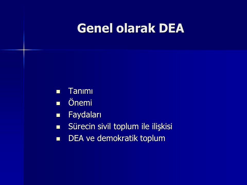 Genel olarak DEA Tanımı Tanımı Önemi Önemi Faydaları Faydaları Sürecin sivil toplum ile ilişkisi Sürecin sivil toplum ile ilişkisi DEA ve demokratik t