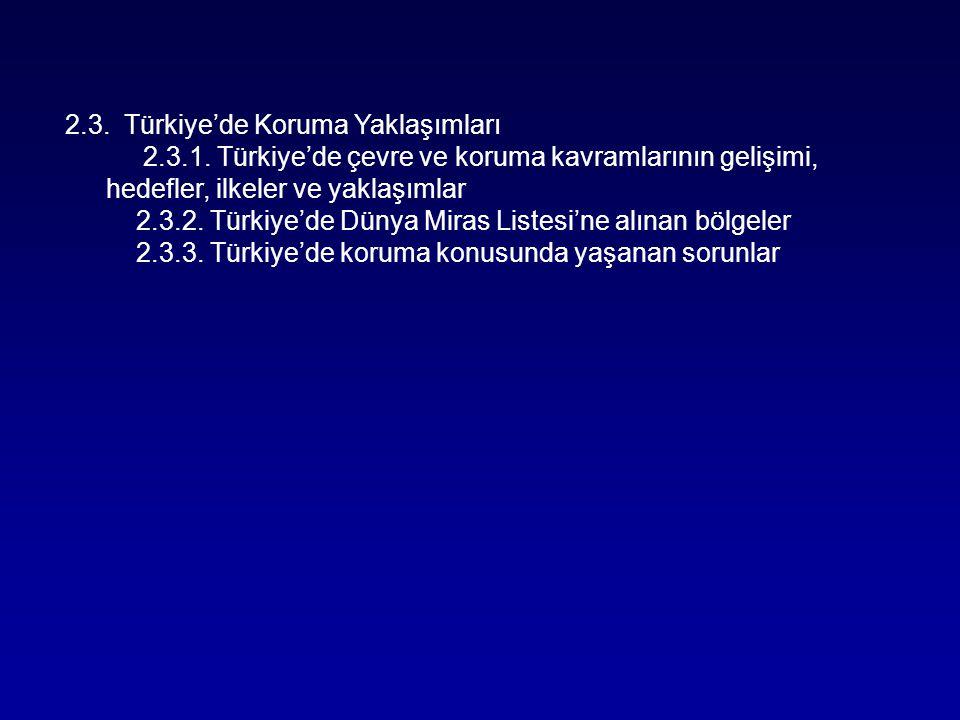 2.3. Türkiye'de Koruma Yaklaşımları 2.3.1. Türkiye'de çevre ve koruma kavramlarının gelişimi, hedefler, ilkeler ve yaklaşımlar 2.3.2. Türkiye'de Dünya