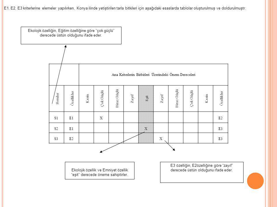 Konya'da 4 E'ye Göre Yetiştirilebilecek Tarla Ürünlerini Belirleme Ekoloji (E1) için - Kimyasal Kullanımı (KK) - Su kullanımı (SK) - Yan Ürünler (YÜ) -İşleme olanakları ve atıklar (İOA) Eğitim (E2) için -Çiftçilerin üretim tecrübesi (ÇÜT) -Depolama ve işleme olanakları ve tecrübesi (Dİ) - Girdi kullanımında makine yoğun üretim (GK): Emniyet (E3) için -Türkiye'nin yıllık üretim miktarı (TÜM) - Pazarlama garantisi (kooperatif veya şirketinin olması) (PG) - Zorunlu gıda olması (ZG) Ekonomi (E4) - Mutlak kar - Nispi kar