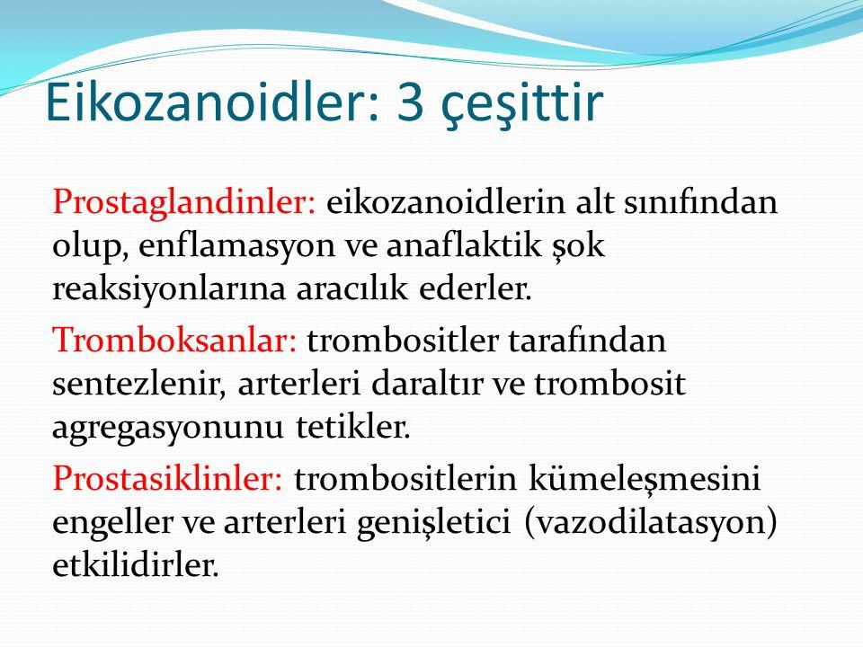 Eikozanoidler Eikozanoidler, omurgalı hayvanların çeşitli dokularında son derece güçlü hormon benzeri etkilerinin çeşitliliği ile bilinen, 20 karbonlu araşidonik asit türevi bileşiklerdir.