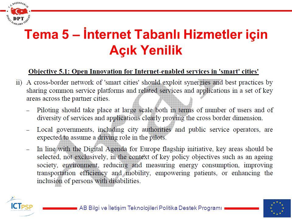 AB Bilgi ve İletişim Teknolojileri Politika Destek Programı Tema 5 – İnternet Tabanlı Hizmetler için Açık Yenilik