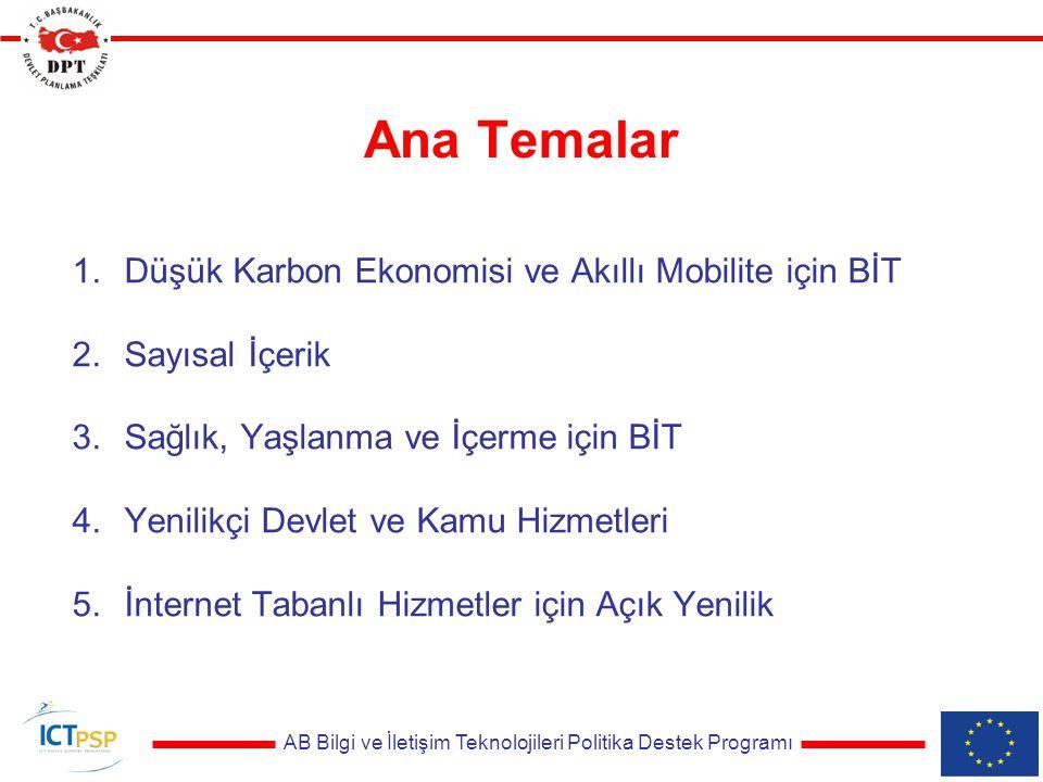 AB Bilgi ve İletişim Teknolojileri Politika Destek Programı Başvuru takvimi Çağrı Açılışı: 28 Şubat 2011 Çağrı Kapanışı: 1 Haziran 2011 Değerlendirme: Haziran 2011 Müzakereler: Eylül 2011 Proje Başlangıç: 2011 Sonu – 2012 Başı