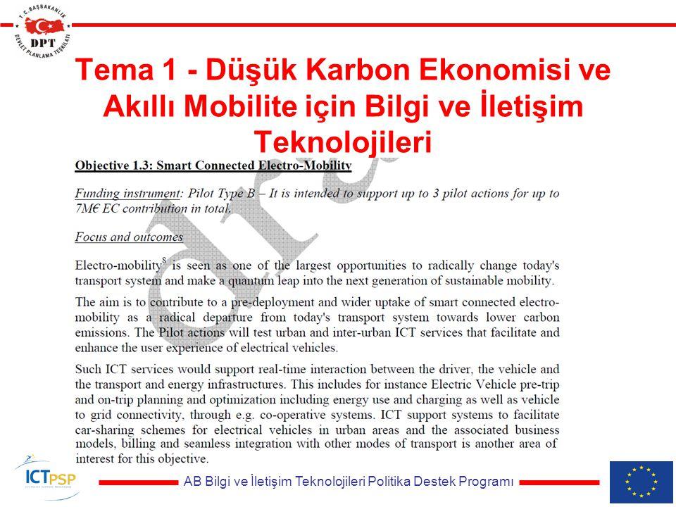 AB Bilgi ve İletişim Teknolojileri Politika Destek Programı Tema 1 - Düşük Karbon Ekonomisi ve Akıllı Mobilite için Bilgi ve İletişim Teknolojileri