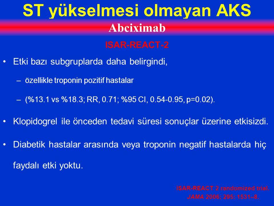 ST yükselmesi olmayan AKS Abciximab ISAR-REACT-2 Etki bazı subgruplarda daha belirgindi, –özellikle troponin pozitif hastalar –(%13.1 vs %18.3; RR, 0.71; %95 CI, 0.54-0.95, p=0.02).