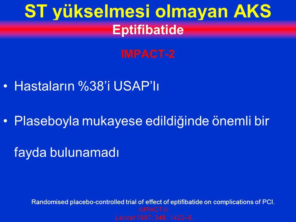 ST yükselmesi olmayan AKS Eptifibatide IMPACT-2 Hastaların %38'i USAP'lı Plaseboyla mukayese edildiğinde önemli bir fayda bulunamadı Randomised placebo-controlled trial of effect of eptifibatide on complications of PCI.