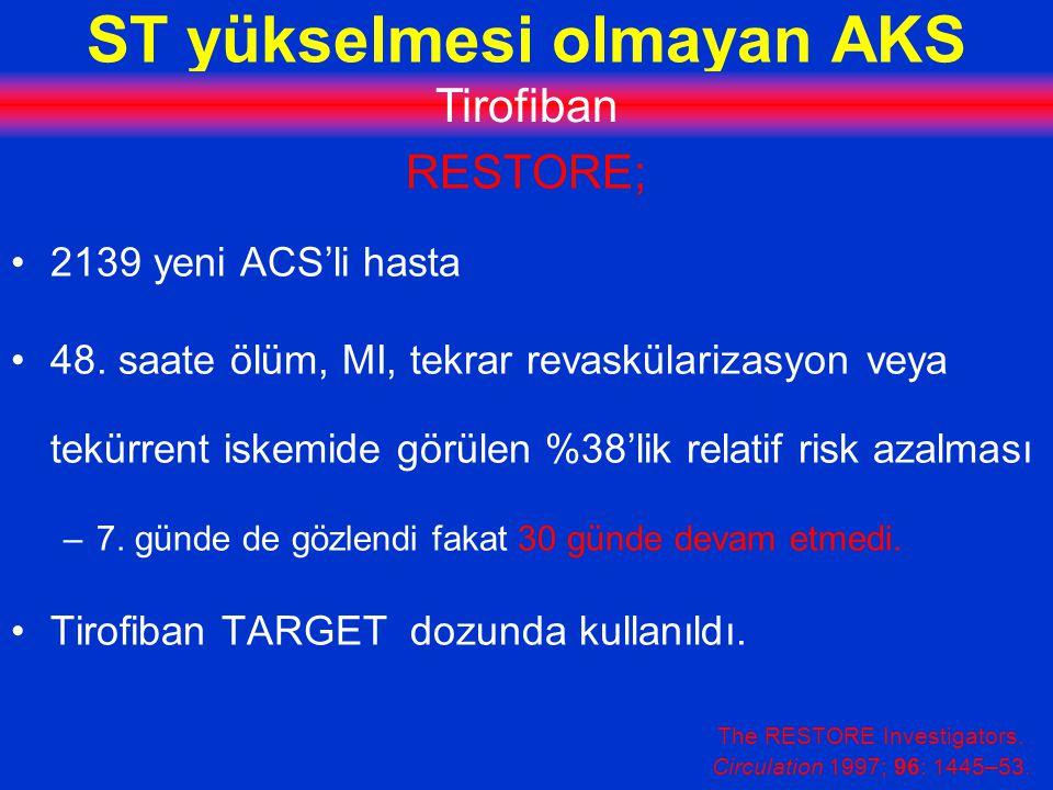 ST yükselmesi olmayan AKS Tirofiban RESTORE; 2139 yeni ACS'li hasta 48.