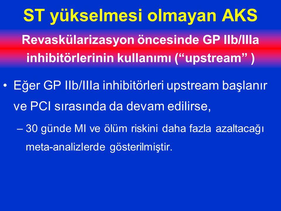 ST yükselmesi olmayan AKS Revaskülarizasyon öncesinde GP IIb/IIIa inhibitörlerinin kullanımı ( upstream ) Eğer GP IIb/IIIa inhibitörleri upstream başlanır ve PCI sırasında da devam edilirse, –30 günde MI ve ölüm riskini daha fazla azaltacağı meta-analizlerde gösterilmiştir.