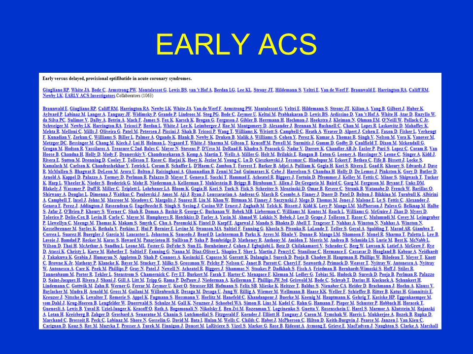 EARLY ACS