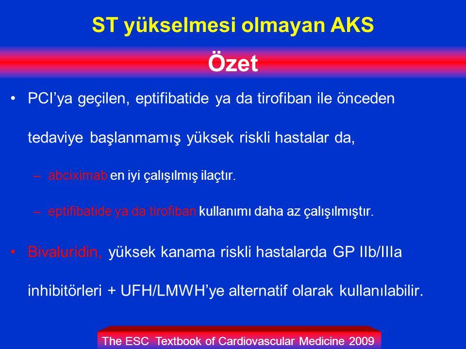 ST yükselmesi olmayan AKS Özet PCI'ya geçilen, eptifibatide ya da tirofiban ile önceden tedaviye başlanmamış yüksek riskli hastalar da, –abciximab en iyi çalışılmış ilaçtır.